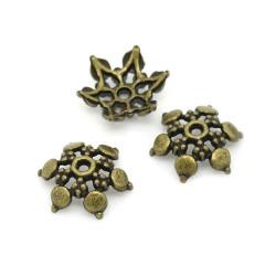 2x bronze Perlenkappe 12x11x2,8mm filigrane bronzefarbene Perlen Kappen - bronze Schmuckzubehör