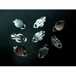 8 Stück silber Ohrclips 10x18mm zum Bekleben silber Ohrklemmen - Schmuckzubehör zum Ohrclips selbermachen
