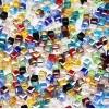 100x bunte 3x3mm Kristallglas Würfelperlen mit geschliffener Kante bunter Perlenmix mit Glanz Cube Perlen - Schmuckzubehör