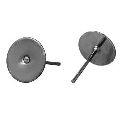 20 Stück gunmetal Ohrstecker 12x8mm zum Bekleben - Gunmetal Schmuckzubehör für Ohrringe