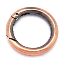 1x runder kupfer Ringverschluss ca. 27x4mm kupfer Karabinerhaken - kupfer Schmuckzubehör
