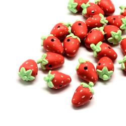 2 Erdbeer Perlen 15-19mm aus Polymer Clay Obstperlen - Polymer Clay Schmuckzubehör