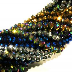 720 St. 8x6mm geschliffene Glasperlen 10 Stränge metallic Perlenmix - buntes Schmuckzubehör