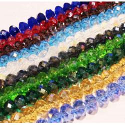 720 St. 8x6mm geschliffene Glasperlen 10 Stränge bunter Perlenmix - buntes Schmuckzubehör