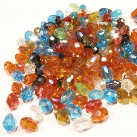 Schmuckzubehör  Geschliffene Glastropfen 17-8x5mm bunter Perlenmix - Schmuckzubehör