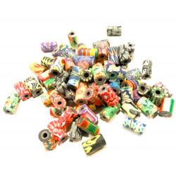 200 bunte Perlen ca. 6x10mm Tubes aus Polymer Clay im bunten Mix - Polymer Clay Schmuckzubehör