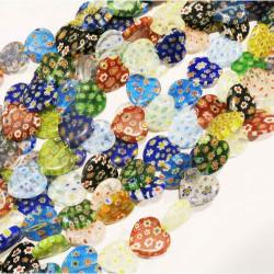 18 Stück bunte Herz Millefiori Perlen 20mm als Strang im Perlenmix - Schmuckzubehör Millefiori