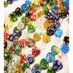 25 Stück bunte Herz Millefiori Perlen 14mm als Strang im Perlenmix - Schmuckzubehör Millefiori