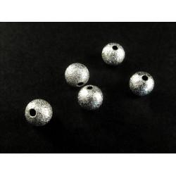 5x angerauhte Metallperlen 6mm hellsilberfarben platinfarben Kugel Spacer