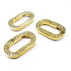 1x ovaler gold Strass Ringverschluss ca. 29x17,5mm gold Karabinerhaken - gold Schmuckzubehör