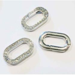 1x ovaler silber Strass Ringverschluss ca. 29x17,5mm silber Karabinerhaken - silber Schmuckzubehör