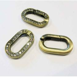 1x ovaler bronze Strass Ringverschluss ca. 29x17,5mm silber Karabinerhaken - bronze Schmuckzubehör