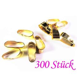 300x vergoldete Collierschlaufe 11x4mm Anhängerhaken goldfarben - Schmuckzubehör Collierschlaufe