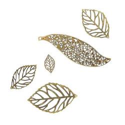 5 filigrane bronze Blatt Anhänger verschiedene Größen bronze Schmuckanhänger - bronze Schmuckzubehör