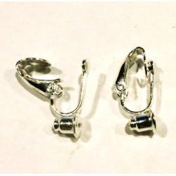 1 Paar hellsilber Ohrclips für Ohrringe 6,2x19,5x8,5mm Adapter - Schmuckzubehör zum Ohrclips selbermachen