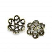 2x bronze Perlenkappe 11x10mm filigrane bronzefarbene Perlen Kappen - bronze Schmuckzubehör