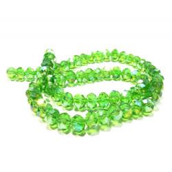 72x hellgrüne geschliffene Glasperlen 8x6mm mit Glanz - Schmuckzubehör Glasperlen