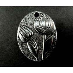 1x großes Blumen Amulett ca. 21x25mm silberfarben Schmuckanhänger - Schmuckzubehör