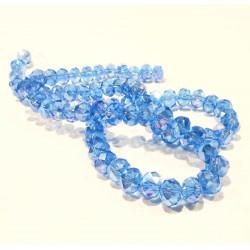 72 blaue geschliffene Glasperlen 8x6mm mit Glanz - Schmuckzubehör Kristallglasperlen