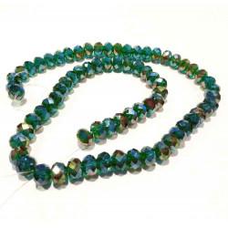 72 grüne geschliffene Glasperlen 8x6mm emeraldgrün mit Glanz - Schmuckzubehör Glasperlen