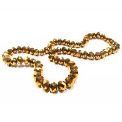 72 gold geschliffene Glasperlen 8x6mm - Schmuckzubehör Glasperlen