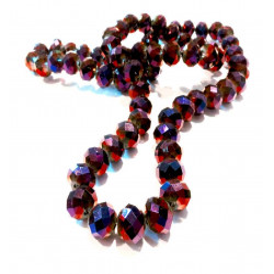 72 aubergine Glasperlen 8x6mm geschliffene mit farbigem AB-Effekt - Schmuckzubehör Kristallglasperlen