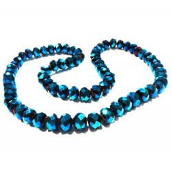 72 blaue geschliffene Glasperlen 8x6mm mit AB-Effekt- Schmuckzubehör zum Glasschmuck basteln