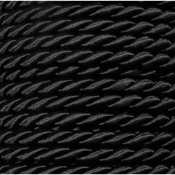 1m schwarze Kordel 6mm schwarzes Schmuckband mit seidigem Glanz - Schmuckzubehör Kordel für Halsband