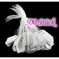 500 weisse Preisetiketten 16x26mm aus Papier mit Band - Schmuckzubehör