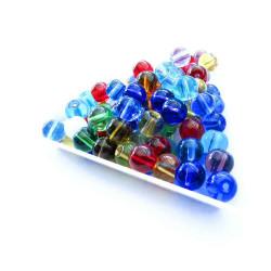 100 bunte runde Glasperlen 6mm als bunter Perlenmix - Glasschmuck Schmuckzubehör
