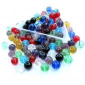 100 bunte runde Glasperlen 8mm als bunter Perlenmix - Glasschmuck Schmuckzubehör