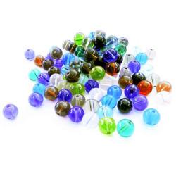 100 bunte runde Glasperlen 10mm als bunter Perlenmix - Glasschmuck Schmuckzubehör
