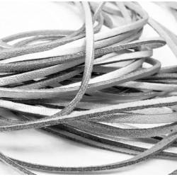 Ca. 1m synthetisches silber Lederband 3x2mm silber Kunstlederband - Schmuckzubehör