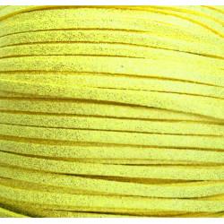 1m gelbes glitzer Kunstlederband 3x2mm gelbes Schmuckband - Schmuckzubehör Lederband