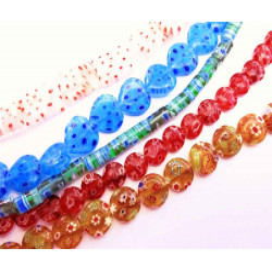 5x Strang bunte Millefiori Perlen MIX 5 im bunten Perlenmix - Schmuckzubehör Millefiori