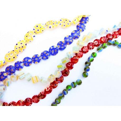 5x Strang bunte Millefiori Perlen MIX 9 im bunten Perlenmix - Schmuckzubehör Millefiori
