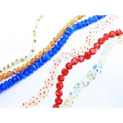 5x Strang bunte Millefiori Perlen MIX 12 im bunten Perlenmix - Schmuckzubehör Millefiori