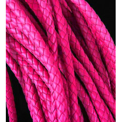 1m pink PU-Lederkordel 6mm Kunstlederband für Lederarmband geflochten - Schmuckzubehör