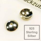 2x 925 Silber Perlenkappen 8x3mm Sterling Silber - Schmuckzubehör Sterling Silber