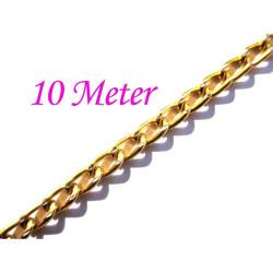 10m gold Alu Kette 6x3,5mm Gliederkette - Schmuckzubehör