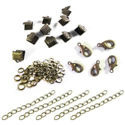 10 bronze Bandklemmen 8mm mit Karabiner, Biegeringe, Kettchen als Schmuckzubehör Set für Halsbänder - bronze Schmuckzubehör Set