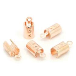 10x Rosegold light/KC-gold Endkappe 12x5mm Innen 4mm Bandklemme - Schmuckzubehör