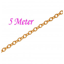 5m gold Kette 2x1,5x0,3mm goldfarbene Gliederkette gold Schmuckkette - gold Schmuckzubehör