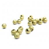 10x Stardust 3mm angerauhte Metallperlen goldfarben Kugel Spacer - Schmuckzubehör Metallperlen