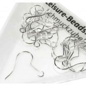 10 Stück hellsilber Ohrfedern 19x20mm mit Stopper hellsilber Ohrfedern - Schmuckzubehör zum Ohrringe selbermachen