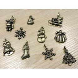10 bronze Weihnachts Anhänger im Mix Schmuckanhänger für Weihnachten - Schmuckzubehör