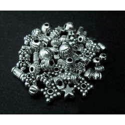 15g Perlenmix 1 silberfarben Metallperlen Spacer - Schmuckzubehör Metallperlen