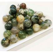 5x Serpentin Perle 8mm grüne Natursteinperlen - Schmuckzubehör
