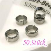 50x Edelstahl Biegering 7mm Breite 3mm Schiebeperle Bindering - Schmuckzubehör Biegering