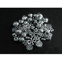 15g Perlenmix 2 silberfarben Metallperlen Spacer - Schmuckzubehör Metallperlen